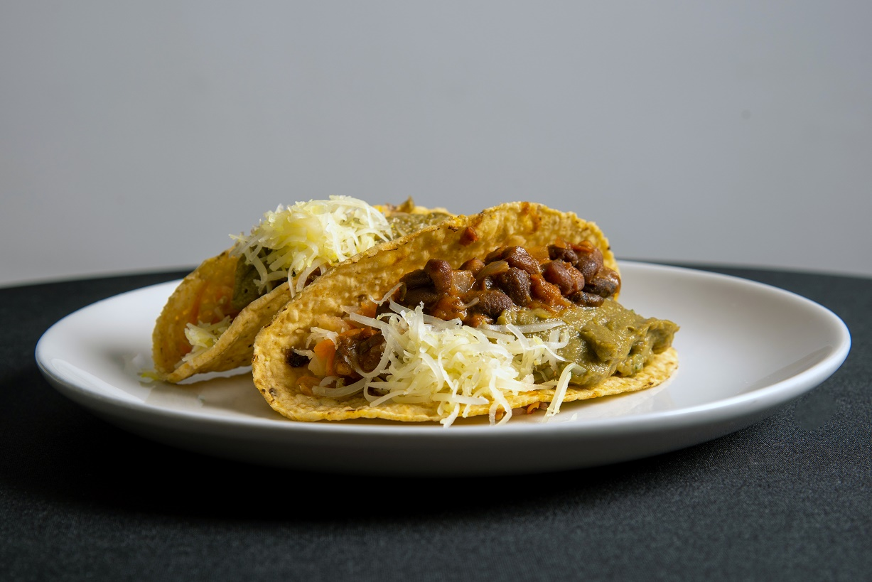 TACOS WITH COLESLOW AND REFRIED BEANS